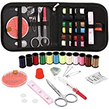 Voluker Mini Sewing Kit for Home, Travel, Camping & Emergency - Sewing Supplies with Scissors, Thimble, Thread, Needles, Tape Measure, Carrying Case and Accessories - Blue