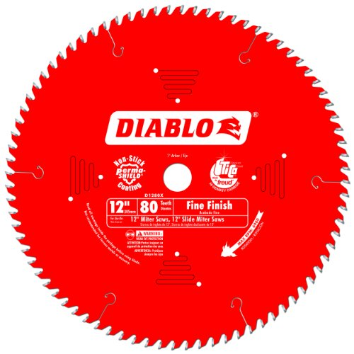 Freud D1280X Diablo 12-Inch 80 Tooth ATB Crosscutting Saw Blade with 1-Inch Arbor (Tooth Atb Thin)