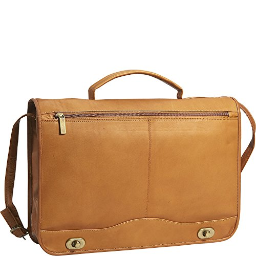 David King Leather Full Flap over Briefcase in Tan by David King & Co