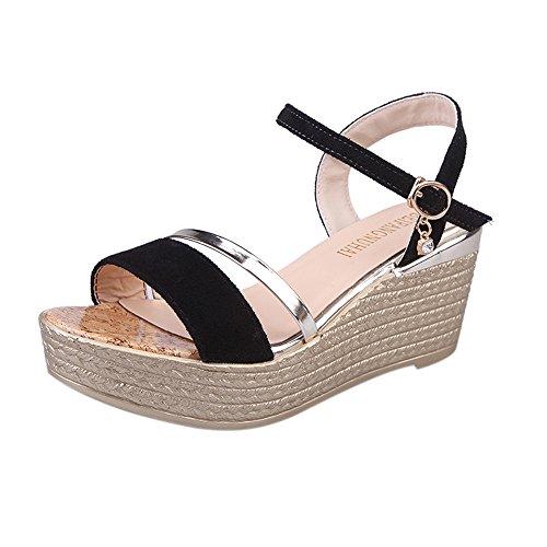 hunpta verano Muffin peces cabeza mujer sandalias plataforma sandalias zapatos de Simple dorado dorado Talla:36 negro