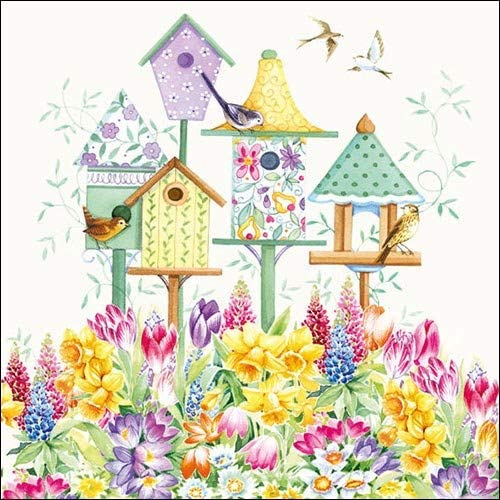 4 Paper Napkins for Decoupage 4 Individual Napkins for Craft /& Napkin Art 33 x 33cm 3-ply Bird Boxes