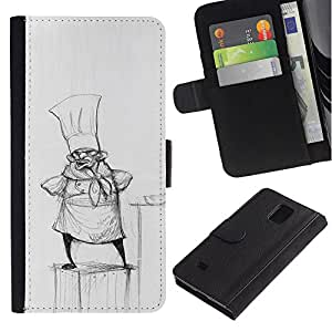 ZCell / Samsung Galaxy Note 4 IV / Cook Pencil Drawing Hat Small Man Kitchen / Caso Shell Armor Funda Case Cover Wallet / Cook lápiz Dibuj