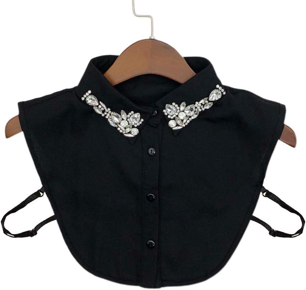 Tinaa - Camisa de Mujer de Muselina con Brillantes Falsos cuellos extraíbles Negro Negro: Amazon.es: Hogar