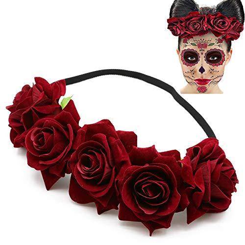 Mexican Rose Flower Crown Headband Day of The Dead Headband Costume Dia de Los Muertos Wedding Festival Headband Hair Garland Wedding Parties Supplies Headpiece -