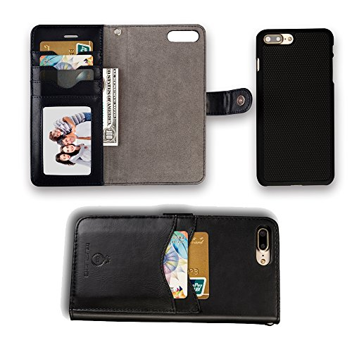 iphone 7/8 Leather Wallet Case,2 in 1 Detachable PU Leather Case for iphone 7/8 with Card Slots and Magnet for Car Mount(Black, iphone 7 8 (4.7inch))