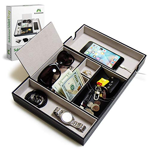 - SUKKMORI Valet Tray Nightstand Organizer - Dresser Tray for Men and Women - EDC PU Leather Box for a Watch, Jewelry, Coin and Key - Bedside and Desk Phone Charging Station - Ring and Wallet Organizers