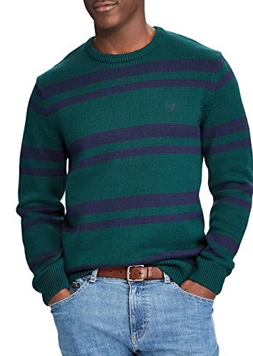 Chaps Men's Crewneck Cotton Stripe Sweater (Green, M) (Sweater Stripe Green Cotton)