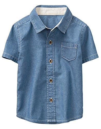 Gymboree Baby Boys Short Sleeve Printed Button Down Woven Shirt, Chambray, 6-12 mo