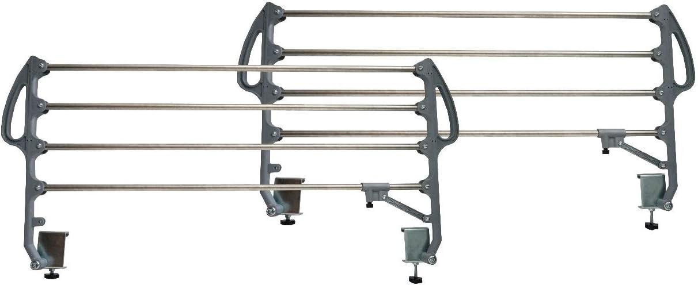 Duérmete Online Juego de Barandillas Metálicas Abatibles Reforzadas 4 Barras para Camas Articuladas y Somieres Eléctricos, Gris, Tamaño estándar
