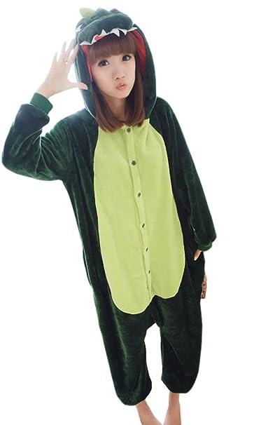 Unisex Adultos Lana Animal Onesies Pijamas de Noche para Mujer y Hombre Dinosaurio Onesie-S