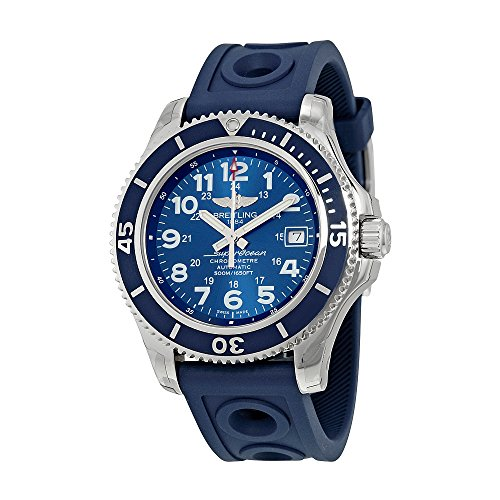 Breitling Superocean II 42 Automatic Blue Dial Blue Rubber Mens Watch A17365D1-C915