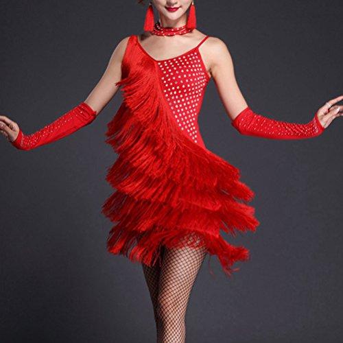 Adulte Zhuhaitf Femme Spectacle Latin Costumes De Danse Frange Pailleté Salle De Bal Robe De Soirée Rouge