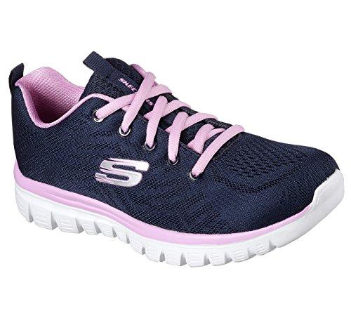 Skechers Graceful-Get Connected, Entrenadores para Mujer Azul (Navy/hot Pink)