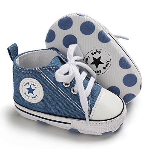 Unisex Baby Boys Girls Canvas Sneakers Soft Soled High-Top Ankle Infant Crib Shoes Toddler First Walkers (6-12 Months, Light Blue)