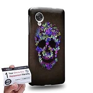 Case88 [LG Nexus 5] 3D impresa Carcasa/Funda dura para & Tarjeta de garantía - Art Blooming Skulls Purple