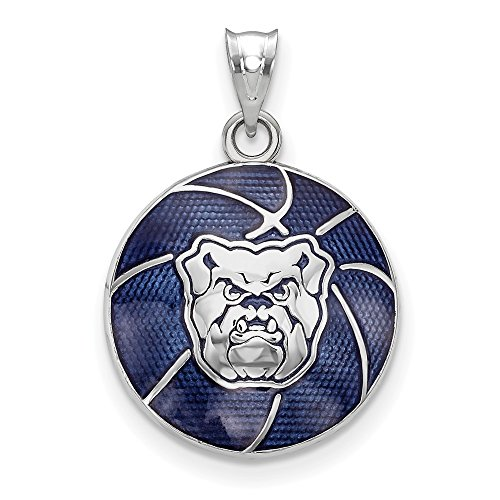 Solid 925 Sterling Silver Butler University. Bulldog Enameled Basketball Pendant (16.3mm x 23.5mm)