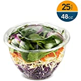 48 Ounce Clear Plastic Disposable Salad Containers with Lids in Bulk for a Fresh Airtight Seal, Portable Serving Bowl Set for Meal Prep & Preserve Freshness 25 Pack by NYHI Direct