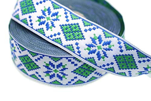 1 Yard (1 Meter) 1.37 inch Wide Green&Blue Geometric Jacquard Ribbon - Decorative Craft Ribbon - Sewing Trim - Woven Trim - Embroidered Ribbon