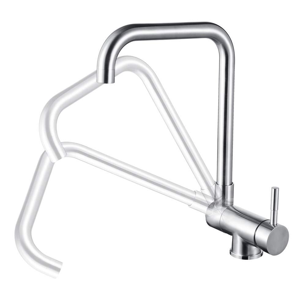 DESFAU 360 ° Rotatable Kitchen Faucet, Swivel Mixer Tap Kitchen Sink Faucet, 304 Stainless Steel Brushed Nickel Kitchen Faucet, Single Lever 1 Hole Kitchen Faucet, Closing window, grifo de cocina