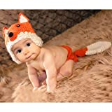 Lalawow Baby Photo Props Baby Girl Crochet Knitted Baby Outfits Costume Fox Hat and Diaper Cover