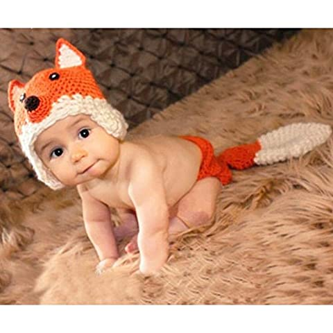Lalawow Baby Photo Props Baby Girl Crochet Knitted Baby Outfits Costume Fox Hat and Diaper Cover (Orange)