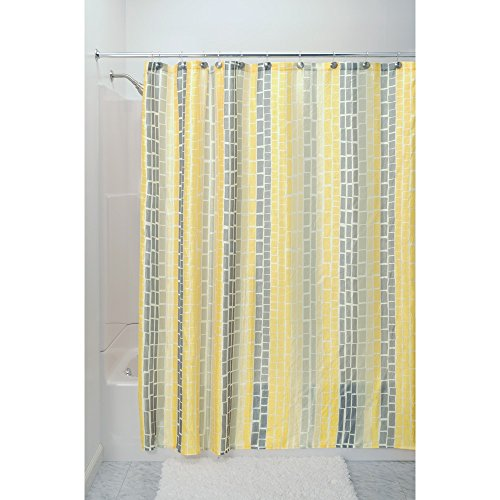 Interdesign Moxi Fabric Shower Curtain  Yellow And Gray  72 Inch By 72 Inch