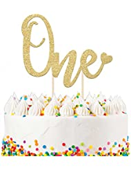 1st Birthday Cake Topper Decoration ONE - 6.25 x 4.25 First Bday Topper w/Premium Double Sided Gold Glitter Cardstock Paper & Bamboo Wood Stand