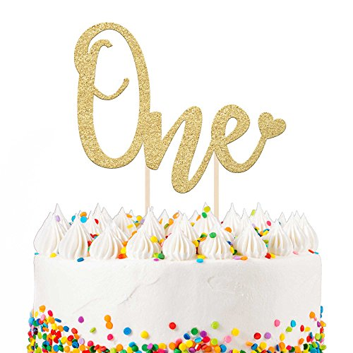 """1st Birthday Cake Topper Decoration ONE - 6.25"""" x 4.25"""" First Bday Topper w/Premium Double Sided Gold Glitter Cardstock Paper & Bamboo Wood Stand 