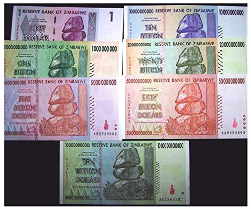 7 Zimbabwe Banknotes.1 Dollar, 1,5,10,20,50 Billion&10 Trillion Dollars-Currency- Rare for Collectors (Only 1 Set Left) from The Seahorse Trading Co.