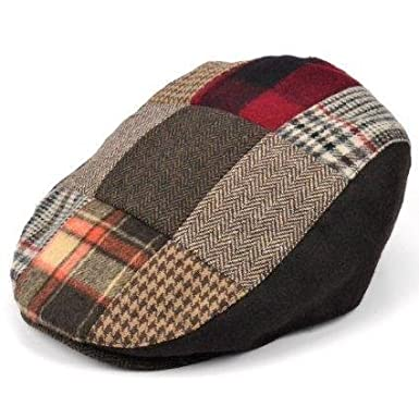 Mens flat cap, tweed, herringbone, check design with Multicolour patchwork