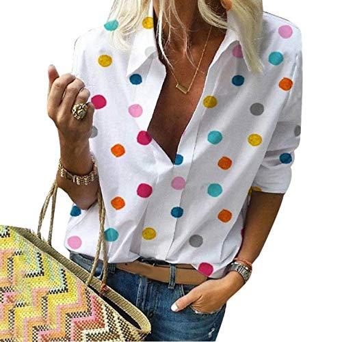 soAR9opeoF Women's Shirt Blouse, Long Sleeve V Neck Colorful Dots Print Blouse Turn Down Collar Long Sleeve Shirt Casual Tunic Top White XXL