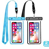 LENPOW Waterproof Case, New Type PVC Water proof Phone Pouch, Universal Clear Cell Phone Dry Bag with Luminous Ornamentfor iPhone X 8 7 6 Plus, Samsung Galaxy s9 s8 , Google Pixel, LG, HTC (2-Pack)