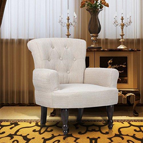 vidaXL Französische Stuhl creme Ohrensessel