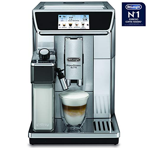 Delonghi super-automatic espresso coffee machine with double boiler, milk frother, chocolate maker for brewing espresso, cappuccino, latte, macchiato & hot chocolate. ECAM65085MS PrimaDonna Elite