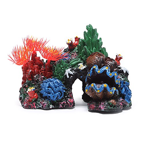 Efivs Arts Resin Coral Sea Grass Aquarium Decoration Conch Shell Fish Tank Ornament Landscape Decor Grass Coral
