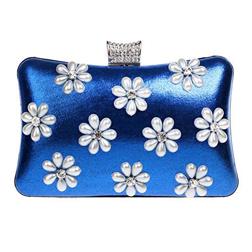Main Sac Femme Maquillage à Bourse Mariage Soirée Pochette Fête Chaîne Bal Sac Blue Bandouliere Clutch pour YxqP1wg