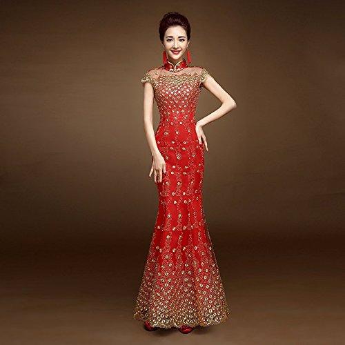Evening Robe Evening Party Lace Gown Elegant Dress Dress Sequin Soiree Mermaid Sparkle B Dress Red GUYIVVU Dress XS Cheongsam Longue De Backless Long TwqIwE