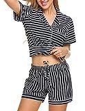 Ekouaer Pajama Set Womens Short Sleeve Sleepwear Cotton Pjs(Blue and White Stripe, X-Large)