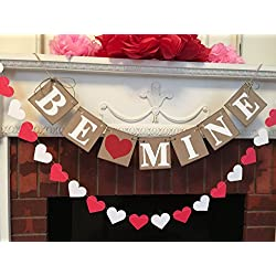 Country Valentine's Day decorations - Be Mine Banner- Valentine banners- Valentine decorations- Valentine's garlands- Valentine's photo props - Valentine's Day Heart Banner
