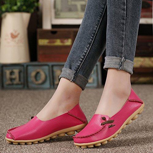 Lucksender Kvinna Mjukt Läder Komfort Driver Dagdrivare Skor Hot Pink
