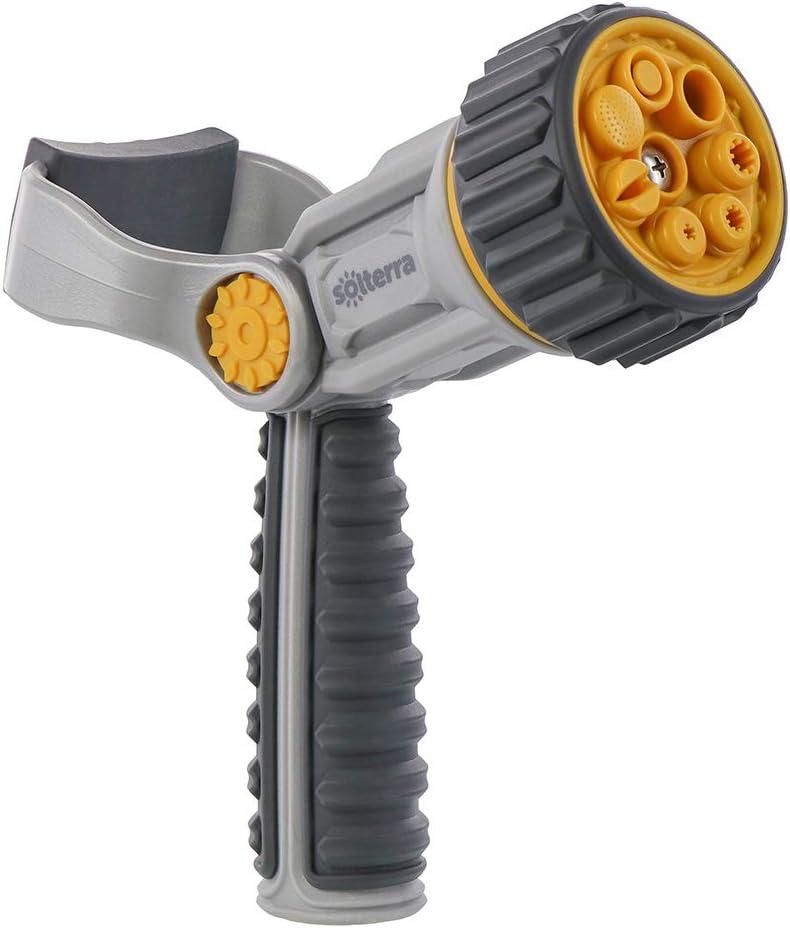 Solterra 56383 Adjustable Garden Hose Nozzle with Rear Trigger, Fireman Lever, Gray