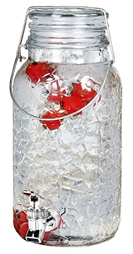 Estilo 1 Gallon Glass Mason Jar Drink Beverage Dispenser with Leak Free Spigot and Bail and Trigger Clamp Locking Lid, Clear (Jar Glass Dispenser)
