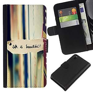 Planetar® Modelo colorido cuero carpeta tirón caso cubierta piel Holster Funda protección Para Sony Xperia Z3 D6603 ( La vida es hermosa la lectura de libros de texto )