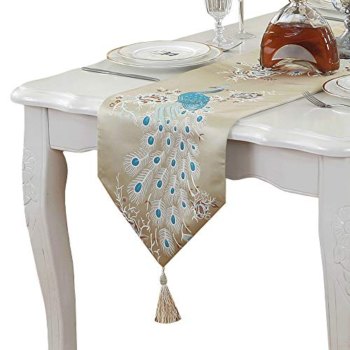 (PHNAM Embroidery Peacock Table Runners with Tassel 13 x 83 Inches Non Slip Rectangle Table Runner for Wedding Decorations (Beige, 13 x 83 Inches) )