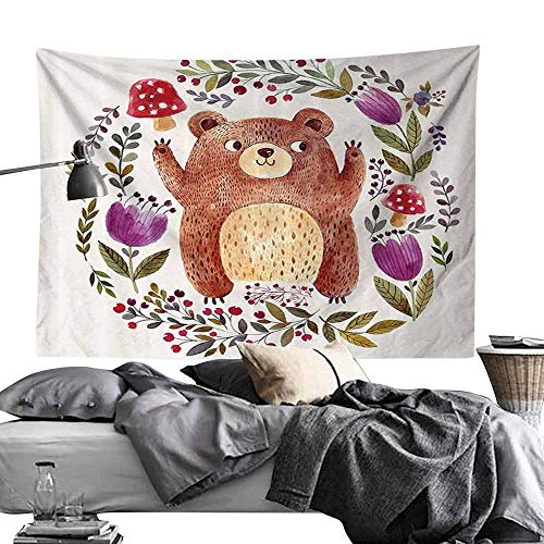 Homrkey Bedroom Living Room Dormitory Tapestry Watercolor Flower Decor Collection Illustration of Cute Little Bear in Watercolor Effect with Floral Whreath Print Hippie Tapestry W84 x L54 Multi