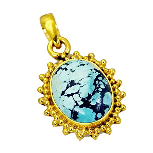 Jewelryonclick Genuine Turquoise Gold Plated Pendants Charms Necklace Chakra Healing Jewelry Gift for ()
