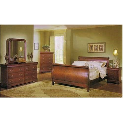 - Louis Phillipe 6 Pc. Bedroom Set in Cherry By Coaster Furniture