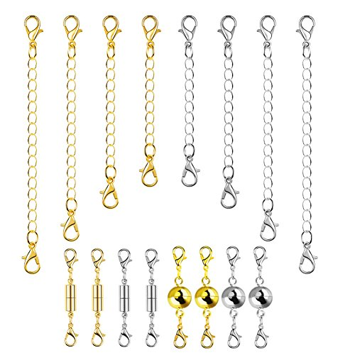 Paxcoo 16Pcs Necklace Extender Chain and Lobster Clasp Lock Set For Jewelry Necklace Bracelet Lobster Lock Clasp