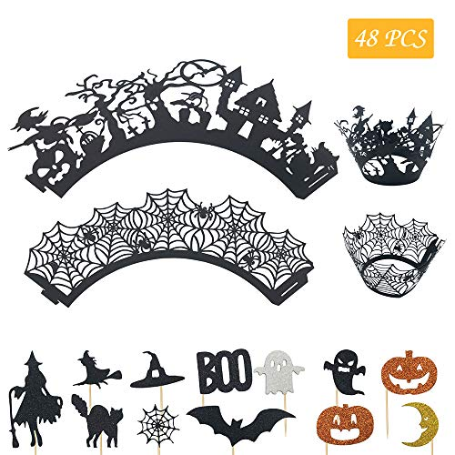 Halloween Cake Toppers Cupcake Wrappers, 24 Pcs Mini Cake Toppers + 24 Pcs Cupcake Wraps, Boo Ghost Pumpkin Witch Hat Bats Spider Web Moon Castle Halloween Cake Decoration Christmas Birthday Party -
