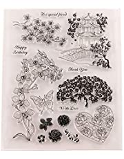 Flower Daisy Leaves Letters Stamps Clear Rubber Stamps for Scrapbooking Card Making Christmas Stamps